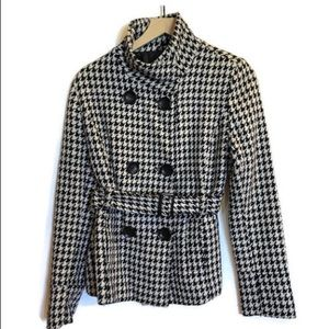 Guess Jeans Houndstooth Belted Wool Peacoat.Large